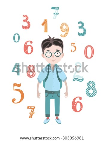 Vector illustration of happy excellent schoolboy in glasses with a backpack and funny colored numbers on white isolated background. A young mathematician - stock vector