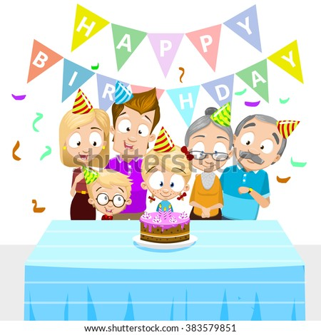 Vector illustration of happy family celebrating birthday. Family members including mother, father, grandmother, grandfather, daughter and son. Isolated on white background with flags and confetti - stock vector