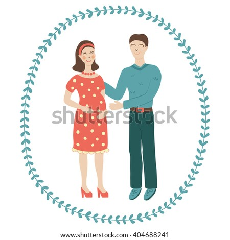 vector illustration of happy family couple, where the woman is pregnant