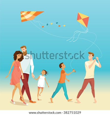 vector illustration of happy family flying a kite on the beach in cartoon style - stock vector