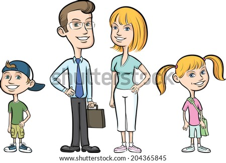 Vector illustration of happy family of four - stock vector