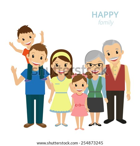 Vector illustration of happy family. Smiling dad, mom, grandparents and two kids isolated on white - stock vector