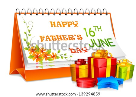 vector illustration of Happy Father's Day calendar with gift - stock vector