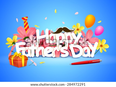vector illustration of Happy Father's Day wallpaper background - stock vector