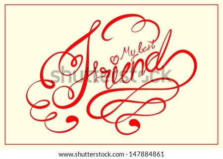 vector illustration of Happy Friendship Day calligraphic design - stock vector