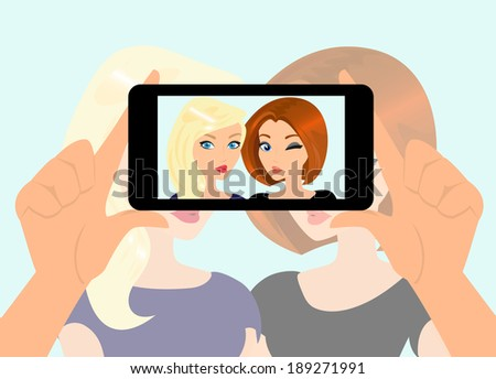 Vector illustration of happy girls are taking a snapshot of themselves. - stock vector