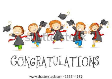 vector illustration of happy graduates with mortarboard - stock vector