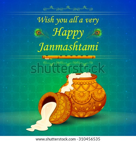 vector illustration of Happy Janmashtami wallpaper background - stock vector