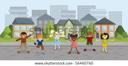 Vector illustration of happy multi-ethnic kids in the city. - stock vector