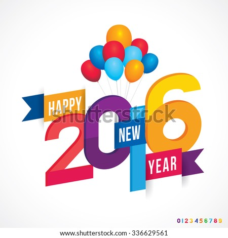 Vector illustration of Happy New Year 2016. - stock vector
