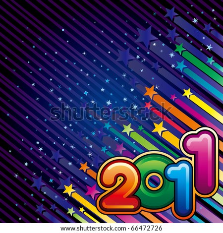 vector illustration of happy new year 2011 - stock vector