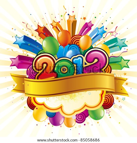 vector illustration of happy new year 2012 - stock vector