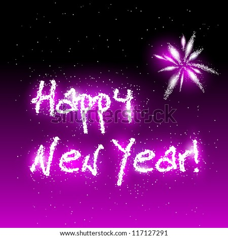 Vector illustration of Happy New Year in sparks - stock vector