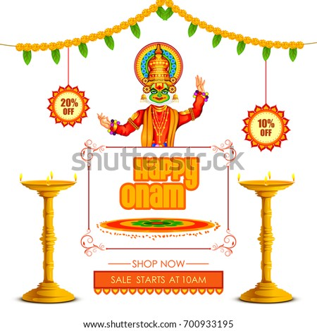 vector illustration of Happy Onam Big Shopping Sale Advertisement background