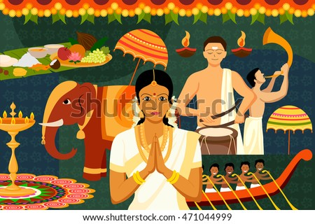 vector illustration of Happy Onam festival celebration background