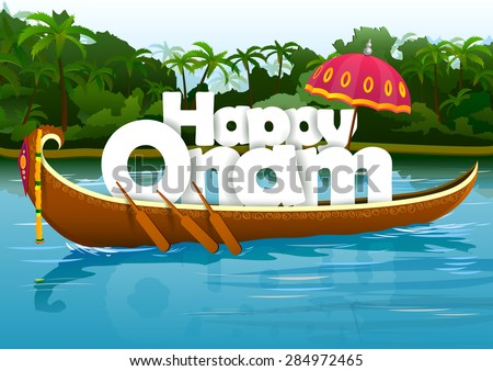 vector illustration of Happy Onam wallpaper background - stock vector