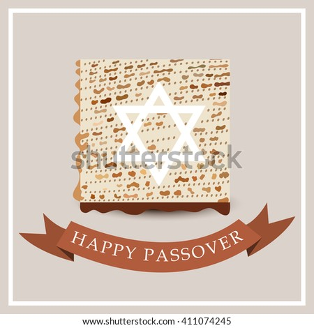 Vector illustration of Happy Passover background with traditional matzoh.