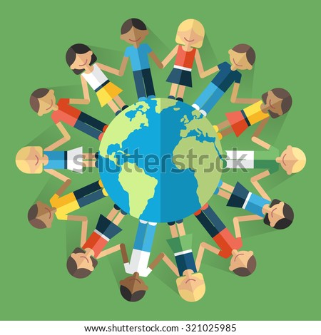 Vector illustration of happy people from all around the world standing on the globe and holding hands. Unity concept. Flat style. Eps 10. - stock vector