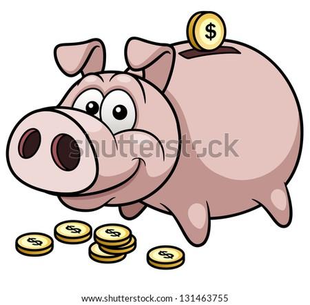 Vector illustration of Happy Piggy Bank - stock vector