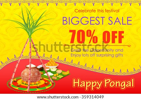 vector illustration of Happy Pongal celebration shopping offer
