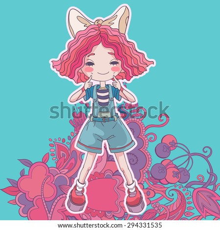 vector illustration of happy pretty girl smiling and haf fun - stock vector