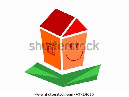vector illustration of happy small house on green grass - stock vector