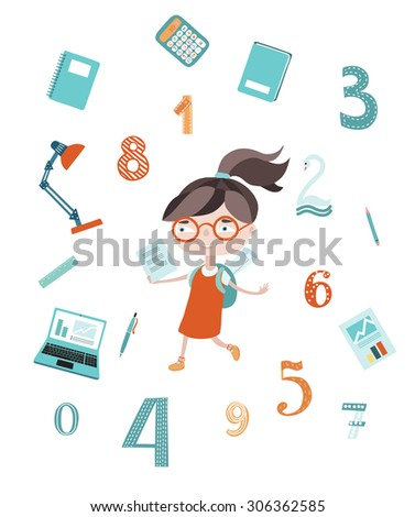 Vector illustration of happy smart schoolgirl in glasses with a backpack and school accessories on white isolated background - stock vector