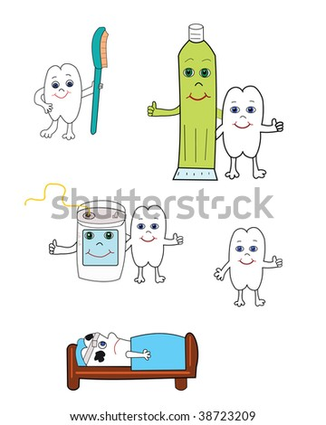 Vector illustration of happy tooth with toothbrush, toothpaste and dental floss.