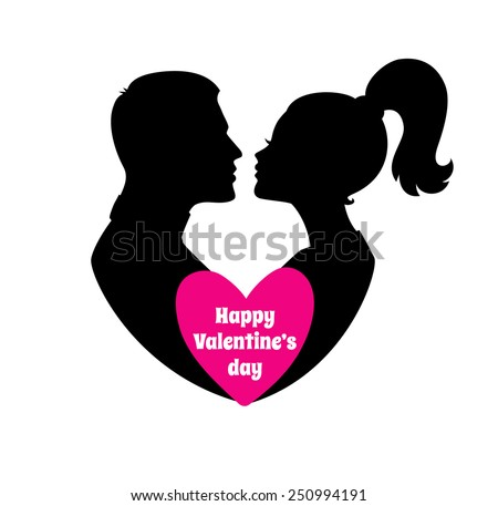 Vector illustration of Happy Valentine's day, couple silhouette image - stock vector