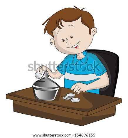 Vector illustration of happy young boy inserting coin in piggy bank. - stock vector