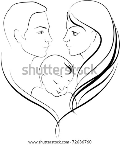 Vector illustration of happy young parents - stock vector