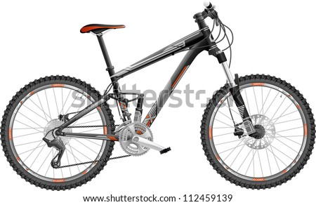vector illustration of hardtail mountain bike, with design - stock vector