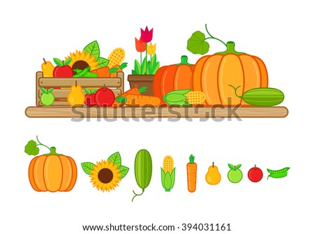 Vector illustration of harvest fruits and vegetables in flat style on white background - stock vector