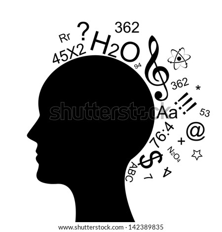 Vector illustration of head with a lot of information - stock vector