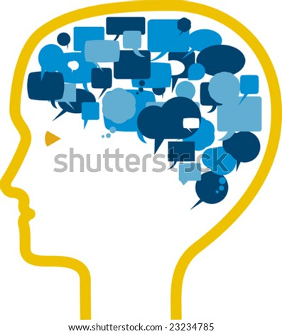 Vector illustration of head with comic bubbles. - stock vector