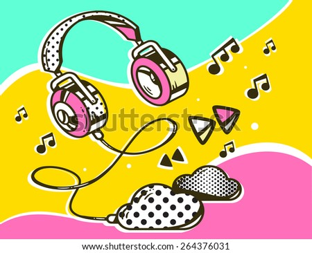Vector illustration of headphone with clouds on colorful background. Hand draw line art design for web, site, advertising, banner, poster, board and print. - stock vector