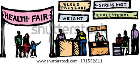 Vector illustration of health fair - stock vector
