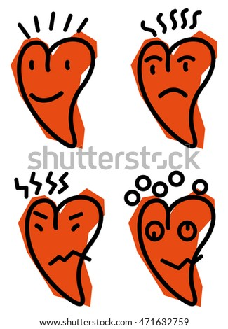 Vector illustration of heart emoticons on white background