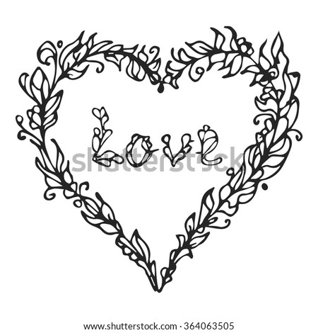 Vector illustration of heart. Hand drawn love doodle. Lined element isolated on white background. Decorative Greeting Card Invitation Poster Design or for other uses.  - stock vector