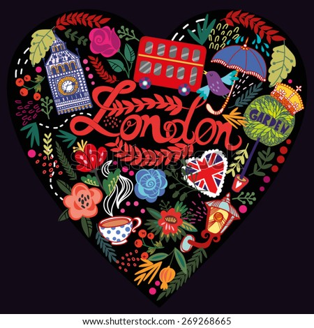 Vector illustration of Heart made from London's symbol in bright colors. - stock vector