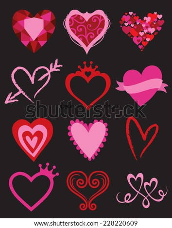 Vector illustration of heart shape graphic elements. - stock vector