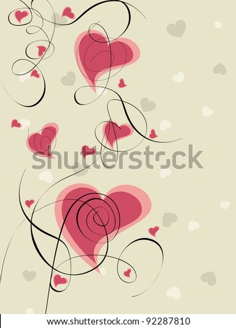 Vector illustration of heart shapes in pink color and floral designs  on seamless background for Valentines Day and other occasions. - stock vector