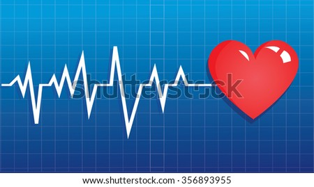 Vector illustration of heart symbol and ECG graphic on blue background