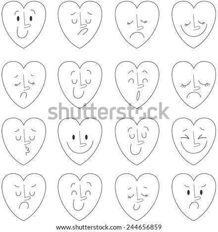 Vector illustration of hearts. Emotions - stock vector