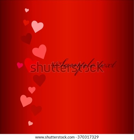 Vector illustration of Hearts on a red background. Text.