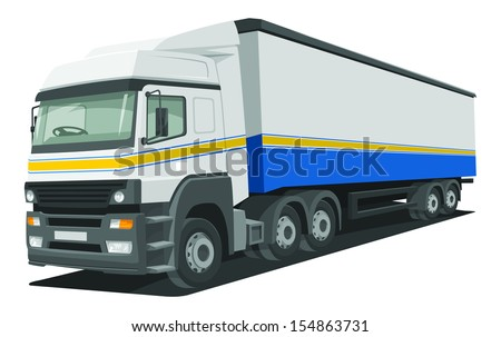 Vector illustration of heavy delivery truck. - stock vector