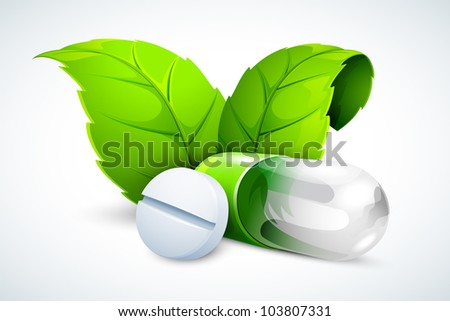 vector illustration of herbal tablet and capsule with green leaf - stock vector