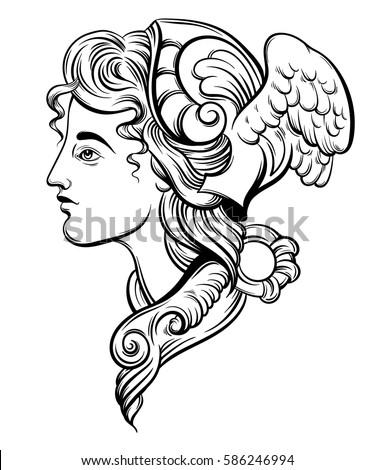 Vector Illustration Hermes Hand Drawn Artwork Stock Vector ...