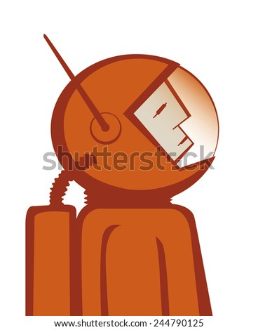 Vector illustration of heroic astronaut in red spacesuit. EPS10 file. - stock vector