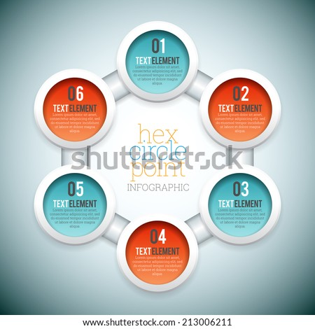 Vector illustration of hex circle point infographic elements. - stock vector